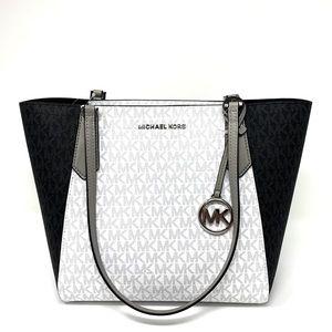 New MK Kimberly SM Bonded Tote Black-White